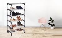 Flipkart Perfect Homes Studio Foldable, Easy to Carry Metal Shoe Rack, Shoe Stand, Shoe Storage, Shoe Cabinet with Rotational Wheels- 6 Shelves, 9 Pairs Plastic Shoe Rack(Black, 6 Shelves)