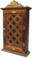 Craft Art India Box Antique with Criss Cross Inlay Work Wood Key Holder(6 Hooks, Brown)
