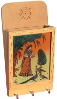 Handicrafts Paradise Wooden, Glass, Stoneware Key Holder(3 Hooks, Multicolor)