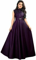 THE CLOTHING DOOR Satin Solid Gown/Anarkali Kurta & Bottom Material(Semi Stitched)