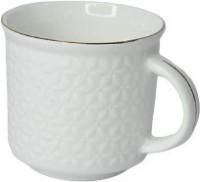 SkyKey Bone China Flower Design Coffee Tea Cup Set, 160ml, 6-Pieces (Color-White) Bone China Coffee Mug(160 ml, Pack of 6)