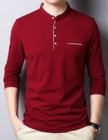 Seven Rocks Solid Men Mandarin Collar Maroon T-Shirt