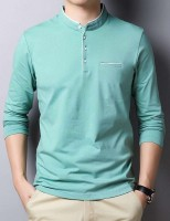 Seven Rocks Solid Men Mandarin Collar Green T-Shirt