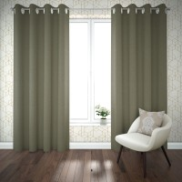 FIFTH SEASONS DECOR 212 cm (7 ft) Polyester Door Curtain (Pack Of 2)(Solid, Green)