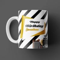 BEAUTUM Happy Birthday Jonathan Best B'day Gift White Ceramic (350ml) Coffee Model NO:ZHB008497 Ceramic Mug(350 ml)