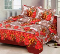 Angel Homes 144 TC Cotton Double Floral Bedsheet(Pack of 1, Red)