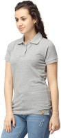 Campus Sutra Casual Short Sleeve Solid Women Grey Top