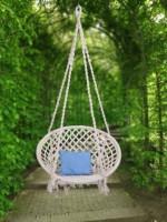 Swingzy Handmade Hanging Swing, Cotton, Wooden Large Swing(White)