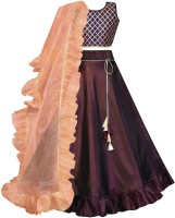Bolly Lounge Girls Lehenga Choli Ethnic Wear Checkered Lehenga| Choli and Dupatta Set Maroon| Pack of 1