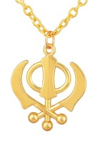 morir Gold Plated Sikh Sardar Sikhism Punjabi Khanda Religious Chain Pendant Locket Necklace Spiritual Jewellery for Men and Women (Size:- 2 inch x 1.5 inch) Gold-plated Brass Pendant