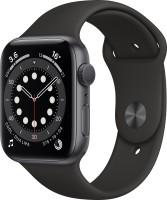Apple Watch Series 6 GPS 44 mm Space Grey Aluminium Case with Black Sport Band(Black Strap, Regular)