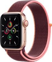 Apple Watch SE GPS + Cellular 40 mm Gold Aluminium Case with Plum Sport Loop(Maroon Strap, Regular)