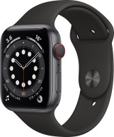 Apple Watch Series 6 GPS + Cellular 44 mm Space Grey Aluminium Case with Black Sport Band(Black Strap, Regular)