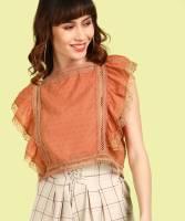 Insua Casual Ruffled Sleeve Lace Women Orange Top