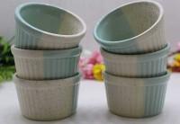 JAPSI Remkins Bowls /Dessert Serving set Ceramic Ramekin Bowl(Green, Multicolor, Pack of 6)