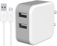 CASVOI Dual Port USB Wall Charger with 2.4 Amp Micro Fast USB Charging Cable 5 W 2.4 A Multiport Mobile Charger with Detachable Cable(White, Cable Included)