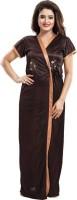 Dream Art Creations Women Robe and Lingerie Set(Brown)