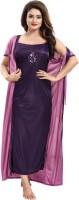 Dream Art Creations Women Robe and Lingerie Set(Purple)
