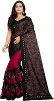 Jiyanfashionretail Printed, Floral Print Fashion Lycra Blend Saree(Maroon, Black)