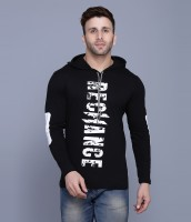 Rockhard Printed Men Hooded Neck Black T-Shirt
