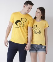 DUO COUPLE Graphic Print Men Round or Crew Yellow T-Shirt