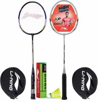 Li-Ning Badminton Racquet Combo (1 Smash XP70 IV + 1 Smash XP90 IV + 1 Pack of 6 Smash Nylon Shuttlecock Yellow Slow) Badminton Kit