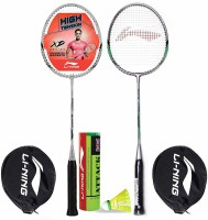 Li-Ning Badminton Racquet Combo (1 Smash XP80 IV + 1 Smash XP90 IV + 1 Pack of 6 Attack Nylon Shuttlecock Yellow Slow) Badminton Kit