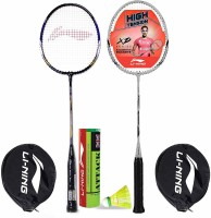Li-Ning Badminton Racquet Combo (1 Smash XP70 IV + 1 Smash XP90 IV + 1 Pack of 6 Attack Nylon Shuttlecock Yellow Slow) Badminton Kit