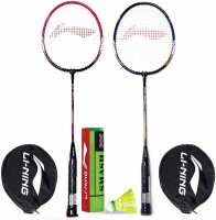 Li-Ning Badminton Racquet Combo (1 Smash XP 60 IV+ 1 Smash XP 70 IV + 1 Pack of 6 Smash Nylon Shuttlecock Yellow Slow) Badminton Kit