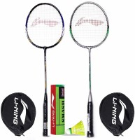 Li-Ning Badminton Racquet Combo (1 Smash XP70 IV + 1 Smash XP80 IV + 1 Pack of 6 Smash Nylon Shuttlecock Yellow Slow) Badminton Kit