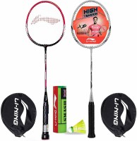 Li-Ning Badminton Racquet Combo (1 Smash XP60 IV + 1 Smash XP90 IV + 1 Pack of 6 Smash Nylon Shuttlecock Yellow Slow) Badminton Kit