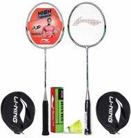 Li-Ning Badminton Racquet Combo (1 Smash XP80 IV + 1 Smash XP90 IV + 1 Pack of 6 Smash Nylon Shuttlecock Yellow Slow) Badminton Kit