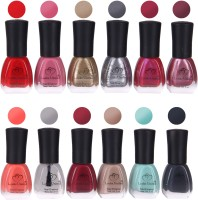 Looks United 12 Premium Colors Nail Polish Multicolor(Pack of 12)
