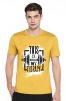 Vintage Clubwear Graphic Print Men Round Neck Yellow T-Shirt