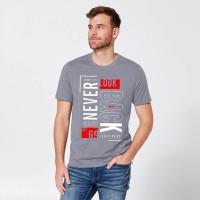 Vintage Clubwear Graphic Print Men Round Neck Grey T-Shirt