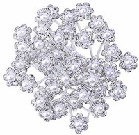 beauty craft VTMS TRADER silver metal pearl bridal hair juda pin for women and girls12 Hair Accessory Set(Silver)
