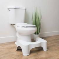 JIGSHTIAL Plastic Toilet Foot Supporter Stool for Western Toilet Scientific Angle Anti-Slip for Better Posture Stool(White, Pre-assembled)