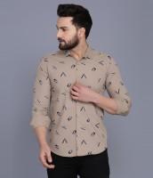 COBIO MAN Men Printed Casual Grey Shirt