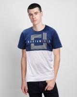 Vintage Clubwear Graphic Print Men Round Neck Dark Blue T-Shirt