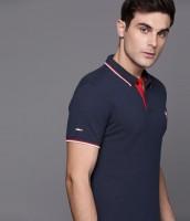 DUCATI Solid Men Polo Neck Dark Blue T-Shirt