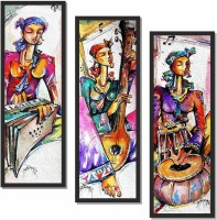 Harmony Arts Musical Instrument Home Theater with lady 1 Painting Digital UV Coated Reprint with Black Frame with hangers and without glass Size 7x19 inch each (Set of 3) Digital Reprint 20 inch x 22 inch Painting