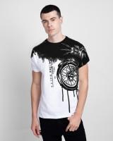 Vintage Clubwear Graphic Print Men Round Neck White T-Shirt