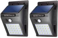 shree krishna shopping Waterproof Solar Wireless Security Motion Sensor LED Night Light for Home Outdoor/Garden Wall (Black) (20-LED Lights) Solar Light Set(Wall Mounted Pack of 2)