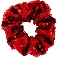 IBDA Ultimate Red Sequined , Bestseller Scrunchie, Hair Ties, Handmade,Head Accessory (Adjustable Size) Pack of 01. Rubber Band(Red)