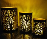 Homesutraa Handmade Metal Tealight Candle Holder with Tree Cut-out Design (Black) for Home and Table Decor Set of 3 Iron Candle Holder Set(Black, Pack of 3)