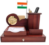 WOODHOUSE 2 Compartments Wooden Wooden Pen Stand, Tea Coaster Stand, Indian Flag and Ashok Stambh with Watch for Office Table(Black)