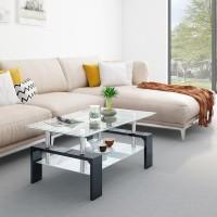 Flipkart Perfect Homes Dorn Glass Coffee Table(Finish Color - Ebony Black)