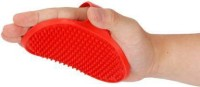 Taiyo Pluss Discovery Pet Shampoo Brush | Soothing Massage Rubber Bristles Curry Comb for Dogs & Cats Washing | Professional Quality Hand Brush - 1 Piece/Size: L - 4.2 Inch, H- 4.7 Inch/ (RED) Curry Comb for  Dog, Cat
