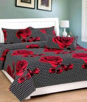Home In Dacora 140 TC Cotton Double Printed Bedsheet(Pack of 1, Red, Black)