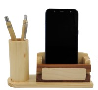 WOODHOUSE 2 Compartments Wooden Pen Stand::Pad Holder::Moble Stand(Pale Cream)